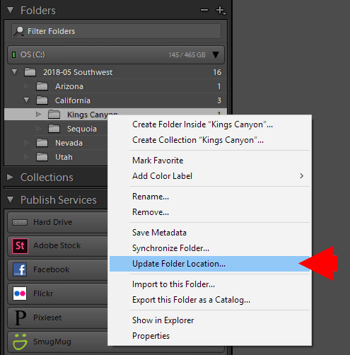 Update Folder Location in Lightroom