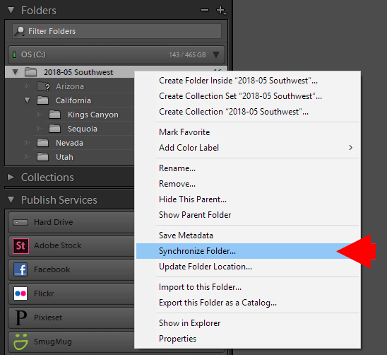 Synchronize the Folder… in Lightroom