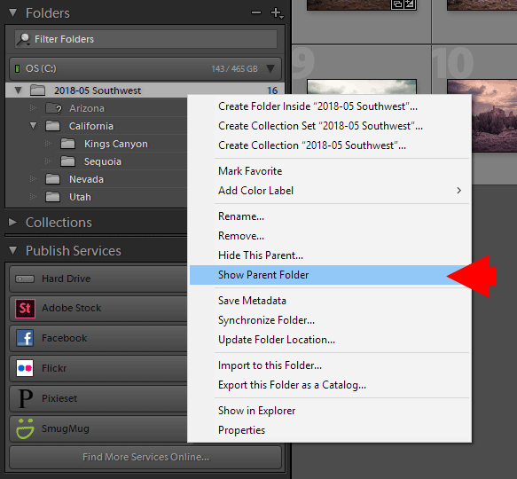 Show Parent Folder in Lightroom
