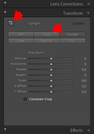 Use the Guided Upright Tool in the Transform Panel for advanced geometry adjustments