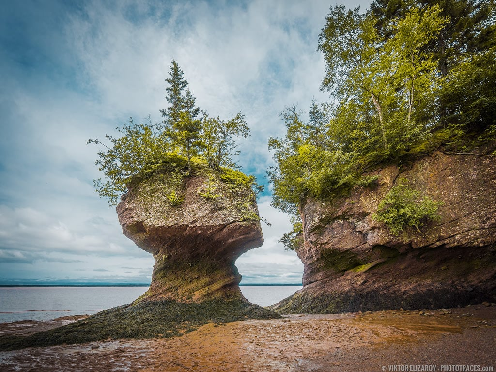 Low tide photo of the Hopewell Rocks state park in New Brunswick in Canada