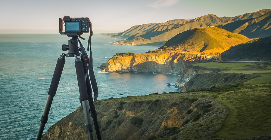 My carbon fiber travel tripod FEISOL 3442 Tournament with Big Sur (California) in the background