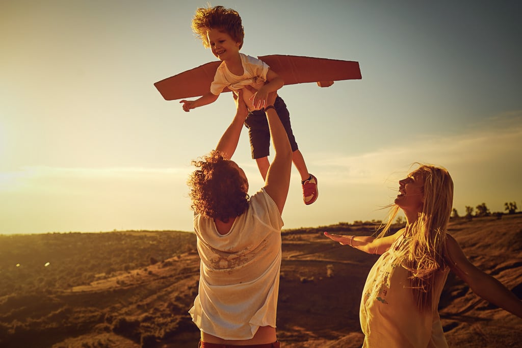 outdoor portrait of happy family in California mountains