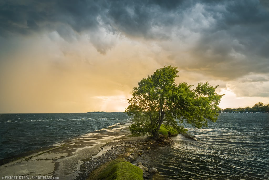 Stormy sky at Saint Lawrence rive at golden hour in Montreal