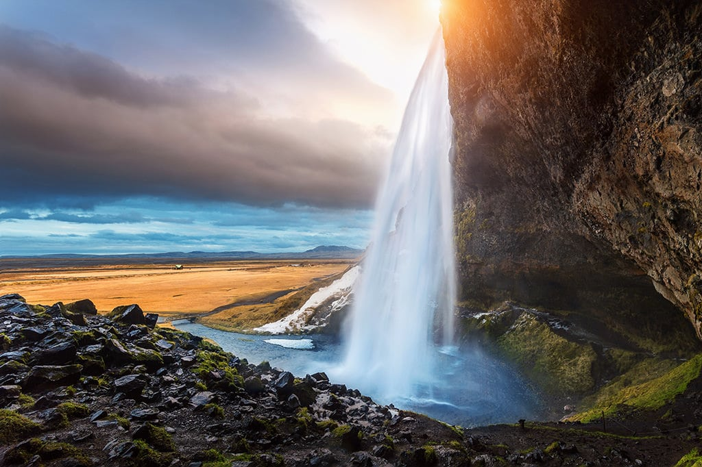 Photo of waterfall in Iceland shot with Nikon 16-35mm f4 wide angle lens