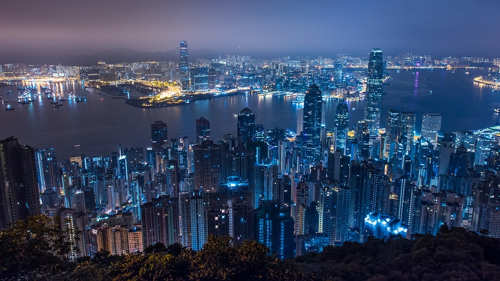 The view from the Peak, also known as Victoria Peak, is the highest hill in Hong Kong Island