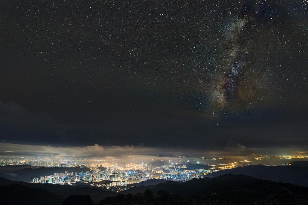 Hong Kong. Night view from Tai Mo Shan