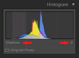 Lightroom Histogram - Shadows
