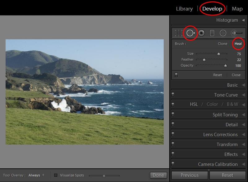 Lightroom Spot Removal Tool When Editing Landscapes 5